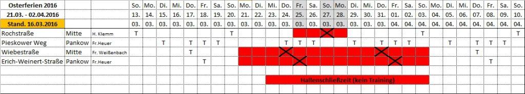 Hallenschließung Osterferien 2016